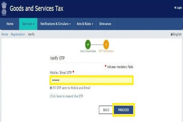 gst registeration process, step 22