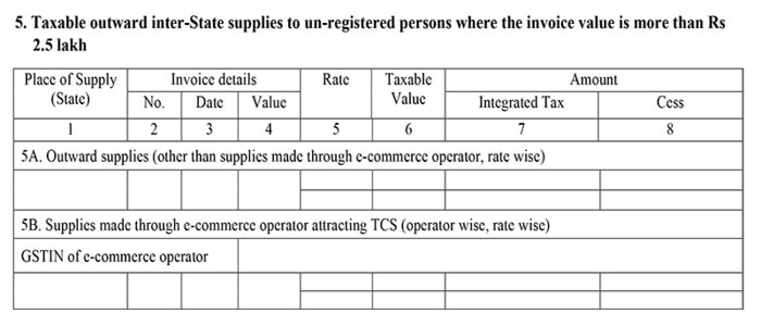 GSTR-1 form section 5