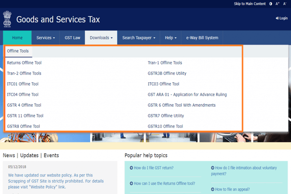 GST Login portal  Home page download menu