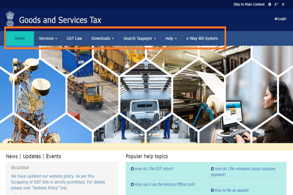 home page of gst login portal